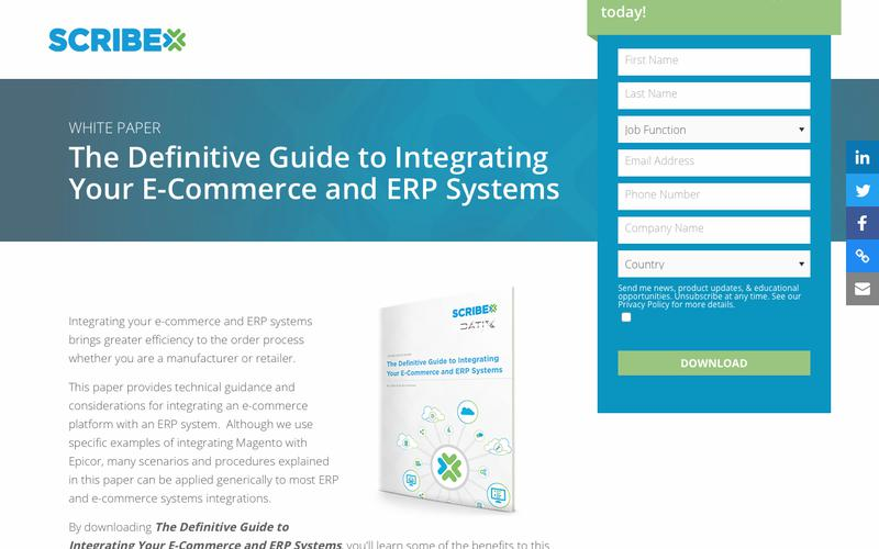 Registration   White Paper: The Definitive Guide to Integrating Your E-Commerce and ERP Systems   Scribe Software
