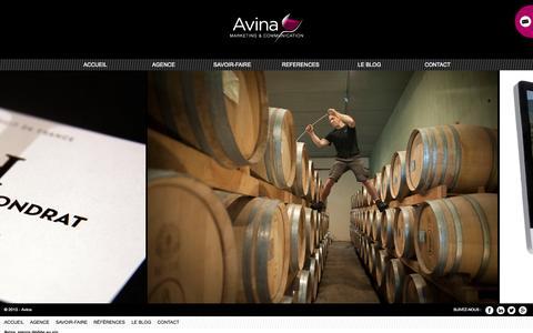 Screenshot of Home Page avina-conseil.fr - Avina, agence de communication : conseil marketing, distribution, export, identité visuelle, étiquette vin, sites Internet, réseaux sociaux - captured Sept. 24, 2014