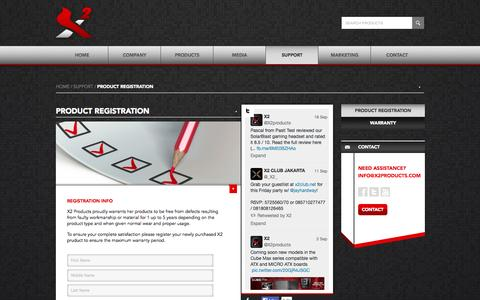 Screenshot of Support Page x2products.com - Product Registration | Support | X2 Products - captured Sept. 30, 2014
