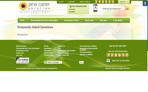Screenshot of FAQ Page janecartersolution.com - Frequently Asked Questions - captured Sept. 23, 2014