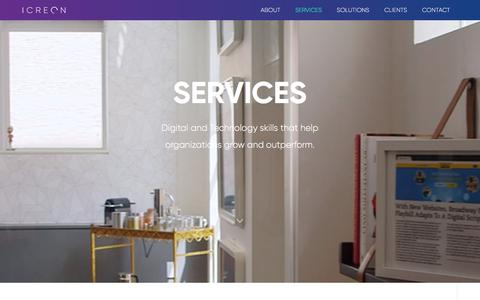 Screenshot of Services Page icreon.us - Technology Services for Businesses - captured June 2, 2018