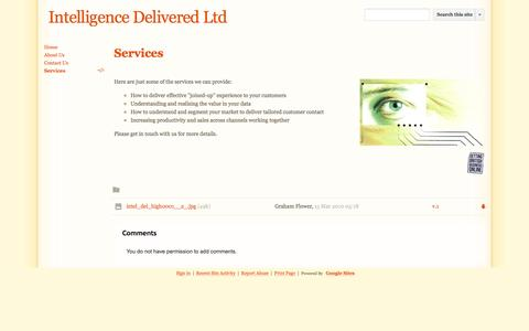Screenshot of Services Page intelligence-delivered.co.uk - Services - Intelligence Delivered Ltd - captured Sept. 30, 2014