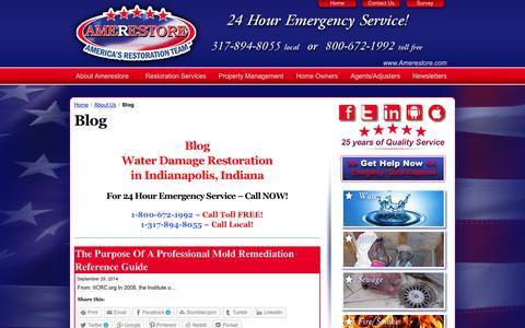 Screenshot of Blog amerestore.com - Blog - Water Damage Restoration Indianapolis : Amerestore - captured Oct. 4, 2014