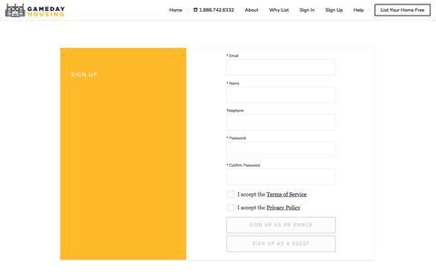 Screenshot of Signup Page gamedayhousing.com - GamedayHousing - captured July 16, 2018