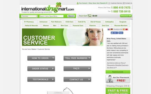 Screenshot of Support Page internationaldrugmart.com - Customer Service/Support Of Our Online Pharmacy - International Drug Mart - captured Aug. 6, 2016