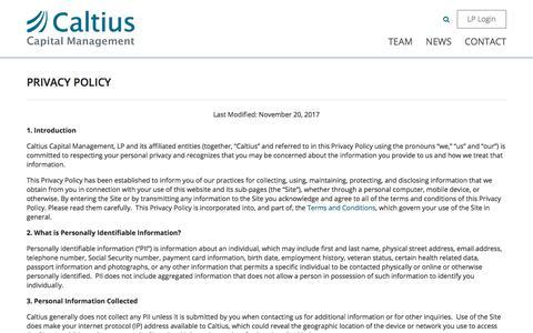 Screenshot of Privacy Page caltius.com - Privacy Policy - Caltius - captured Sept. 26, 2018