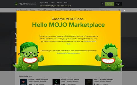 Screenshot of mojomarketplace.com - Buy & Sell Marketplace for Themes, AddOns, Services, Apps and more! - captured Sept. 26, 2015