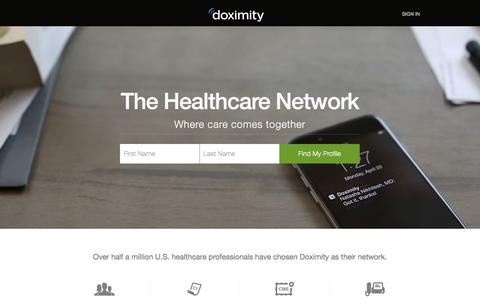 Screenshot of Home Page doximity.com - Physician's Network & Healthcare Directory for Doctors, NPs, PAs & RNs - captured Feb. 23, 2016