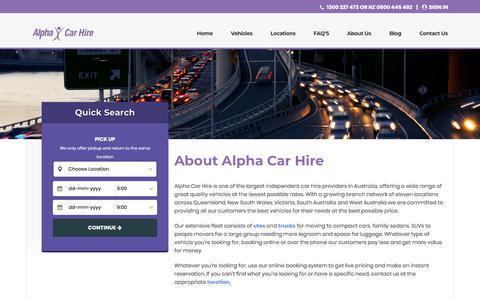 Screenshot of About Page alphacarhire.com.au - About Us | Alpha Car Hire - captured Dec. 14, 2019