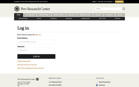 Screenshot of Login Page pewresearch.org - Profile   Pew Research Center - captured Dec. 7, 2017