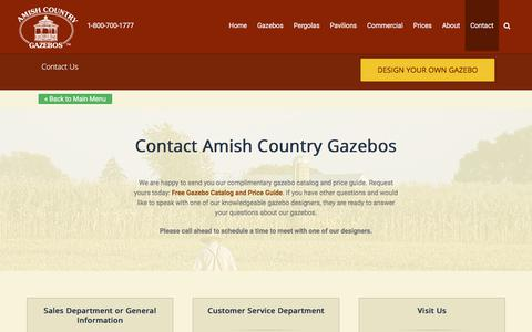 Screenshot of Contact Page amishgazebos.com - Contact: Amish Crafted Gazebos | Amish Country Gazebos - captured July 19, 2019