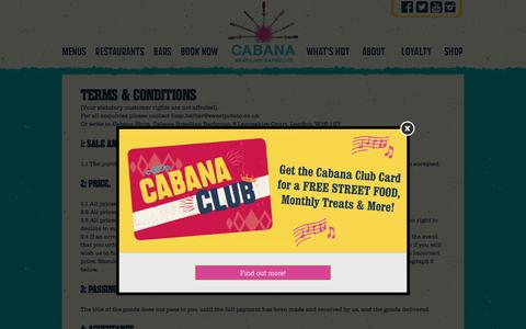 Screenshot of Terms Page cabana-brasil.com - Terms & Conditions - Cabana Brasilian Barbecue - captured Sept. 23, 2016