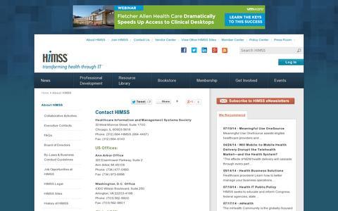 Screenshot of Contact Page himss.org - Contact HIMSS | HIMSS - captured July 20, 2014