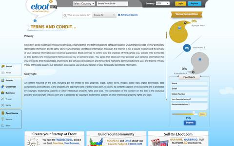 Screenshot of Terms Page etoot.com - Terms and Conditions   Etoot - captured Oct. 27, 2014