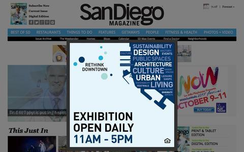 Screenshot of Home Page sandiegomagazine.com - San Diego Magazine - San Diego Restaurants, Events, Photos, The Best of San Diego - captured Oct. 5, 2015