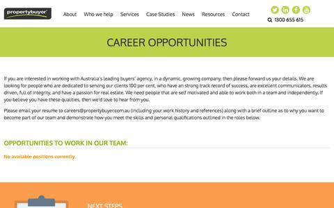 Screenshot of Jobs Page propertybuyer.com.au - Propertybuyer Career Opportunities: Sydney Real Estate Jobs - captured July 24, 2018