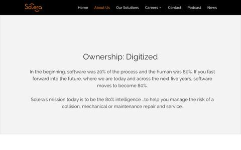 Screenshot of About Page solera.com - Strategic Focus | Solera - captured Nov. 7, 2019