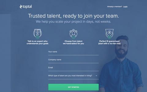 Screenshot of Landing Page toptal.com - Join as a Client | Toptal - captured Dec. 14, 2016