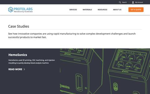 Screenshot of Case Studies Page protolabs.co.uk - Protolabs: Case Studies - captured April 29, 2019