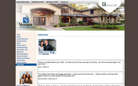 Screenshot of Testimonials Page venturehomerealty.com - Testimonials - Sheryl Lynn & Associates - captured Oct. 6, 2014