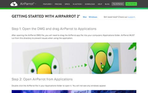 Screenshot of airsquirrels.com - Getting Started with AirParrot 2 for Mac or Windows - captured March 20, 2016
