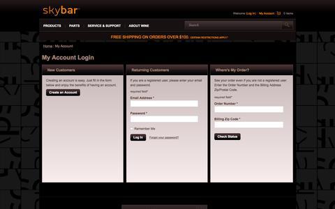 Screenshot of Login Page skybarhome.com - My Account - SkyBar - captured May 1, 2016