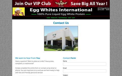 Screenshot of Contact Page eggwhitesint.com - Egg Whites International - 100% All Natural Pure Liquid Egg Whites | EGG WHITES INTERNATIONAL, LLC. - captured Sept. 27, 2018