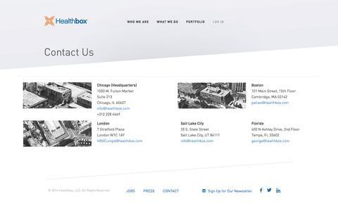 Screenshot of Contact Page healthbox.com - Healthbox - captured July 3, 2016