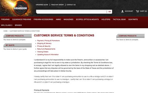Screenshot of Privacy Page Support Page grabagun.com - Customer Service Terms & Conditions - captured Oct. 16, 2017