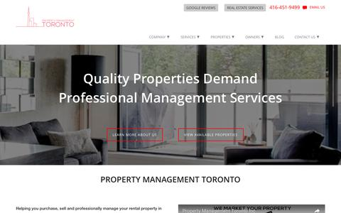 Screenshot of Home Page propertymanagementto.com - Home - Property Management Toronto - captured Nov. 14, 2016