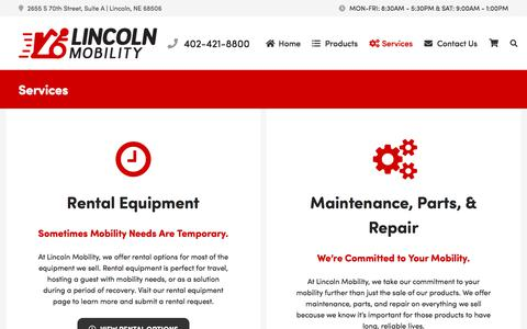 Screenshot of Services Page lincolnmobility.com - Services | Lincoln Mobility - captured July 20, 2018