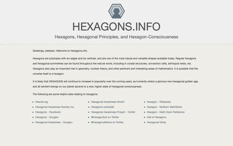 Screenshot of Home Page hexagons.info - Hexagons and Hexagon-Related Information for the Hexagonally Inclined. Hexagons. | Hexagons.info - captured Oct. 21, 2018