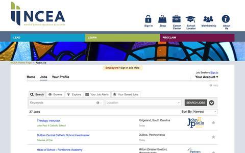 Screenshot of Jobs Page ncea.org - Jobs   NCEA Career Center - captured Nov. 28, 2016