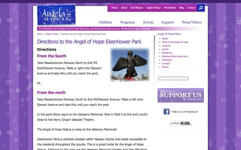 Screenshot of Maps & Directions Page angelashouse.org - Directions to the Angel of Hope Eisenhower Park - Angela's House - captured Sept. 30, 2014
