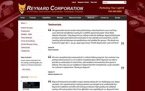 Screenshot of Testimonials Page reynardcorp.com - Optical Manufacturing Reynard Corporation   Testimonials - captured Sept. 19, 2014