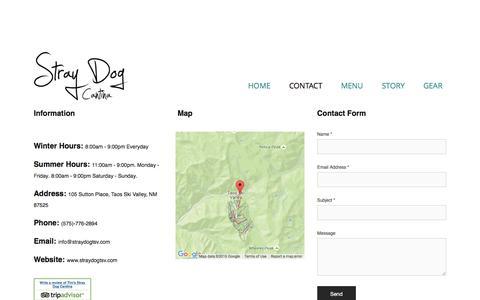 Screenshot of Contact Page straydogtsv.com - CONTACT — Stray Dog Cantina - captured March 31, 2016