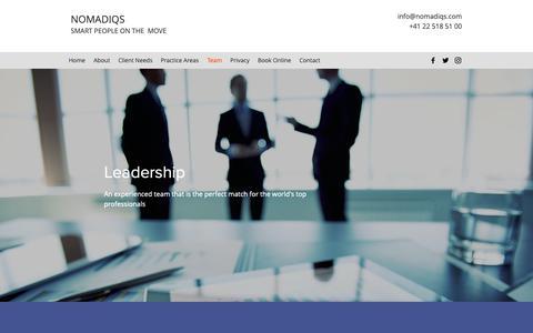 Screenshot of Team Page nomadiqs.com - Team | nomadIQs - captured Oct. 20, 2018