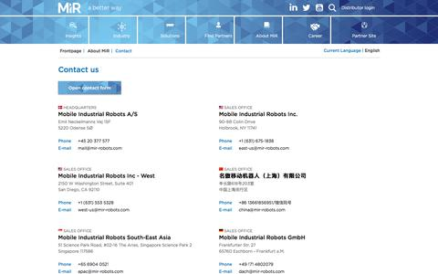Screenshot of Contact Page mobile-industrial-robots.com - Contact us | Mobile Industrial Robots - captured Feb. 18, 2020