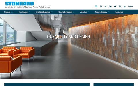 Screenshot of Home Page stonhard.com - Industrial Commercial Flooring | Epoxy Floor Systems | Resin & Urethane Floors | Stonhard - captured Sept. 13, 2018