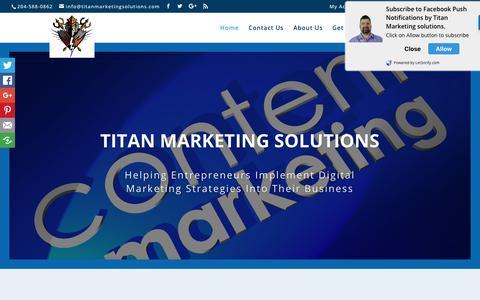 Screenshot of Home Page titanmarketingsolutions.com - Titan Marketing Solutions|Winnipeg Digital Marketing Agency - captured June 19, 2017