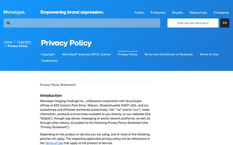 Screenshot of Privacy Page monotype.com - Privacy Policy | Monotype - captured Nov. 6, 2019