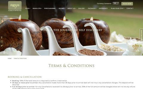 Screenshot of Terms Page shreyasretreat.com - Shreyas Yoga Retreat India - A Boutique Resort & Luxury Ashram - captured Nov. 15, 2017