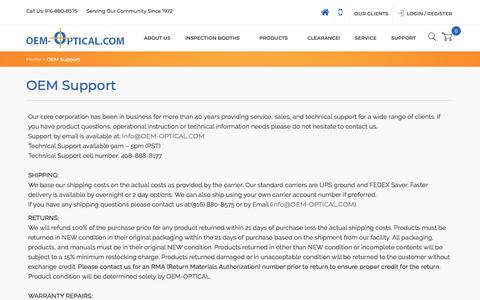 Screenshot of Support Page Terms Page oem-optical.com - OEM Support - captured July 10, 2018