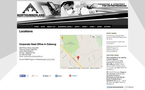 Screenshot of Locations Page northumberlandcfdc.ca - Locations « Northumberland Community Futures Development Corporation - captured Oct. 7, 2014