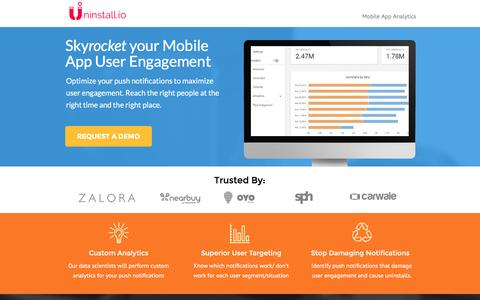Screenshot of Landing Page uninstall.io - Increase Mobile App User Engagement - captured Sept. 2, 2016