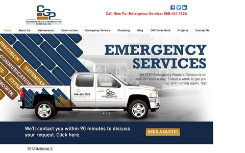 Screenshot of Home Page cgpconstruction.com - CGP Maintenance & Construction Services, Inc | Facilities Maintenance - captured Oct. 4, 2016