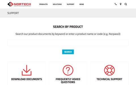 Screenshot of Support Page nortechcontrol.com - Nortech product search  | Nortech Control Systems Ltd - captured Nov. 8, 2017