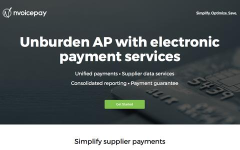 Screenshot of Landing Page nvoicepay.com - Unburden Accounts Payable with Our Electronic Payment Service - captured May 17, 2017