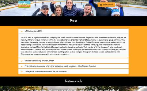 Screenshot of Press Page fittoursnyc.com - Press | Fit Tours NYC - captured June 6, 2017