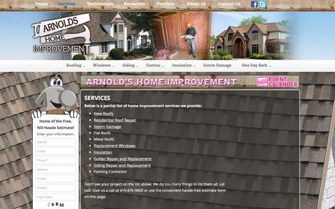 Screenshot of Services Page arnoldshomeimprovement.com - Services | Arnolds Home Improvement - Toledo Roofing, Siding, Windows Contractors - captured Dec. 26, 2015